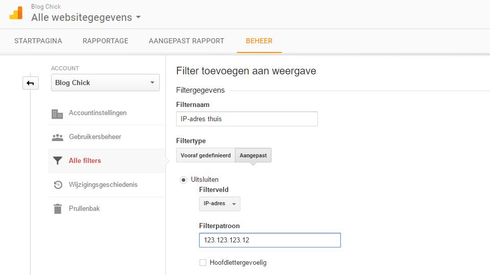 Google Analytics eigen bezoeken laten uitsluiten (2)